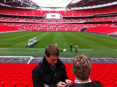 Susie and cameraman Mike at Wembley. Colour not edited... Photo credit: TV's Andy Clarke