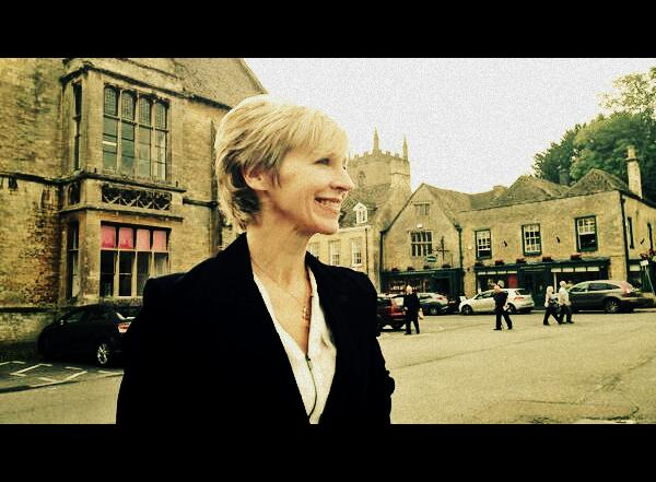 Susie filming in Stow on the Wold