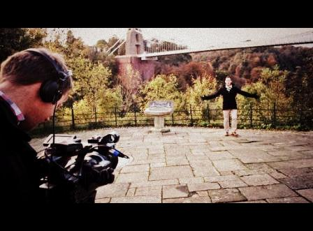 Filming Saturday Kitchen intro, Bristol Suspension Bridge