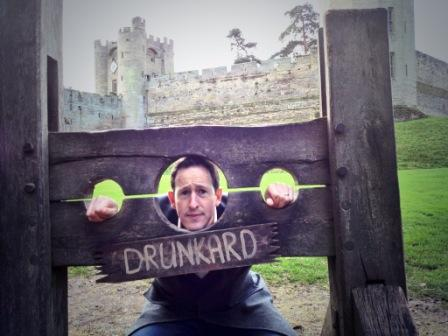 Peter in the stocks at Warwick Castle