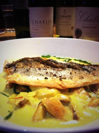 Sea bass with saffron & mussels