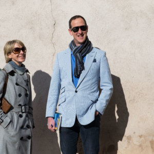Susie and Peter versus a French wall, credit Riviera Travel/Barry Coombs