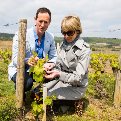 Susie Barrie MW and Peter Richards MW in Burgundy; credit Riviera Travel/Barry Coombs