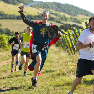 Peter on the run through English vineyards - credit Sussex Photography