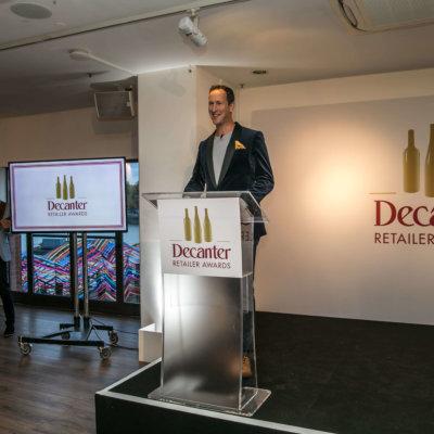 Peter Richards MW hosting the Decanter Retailer Awards, credit: Decanter