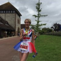 Susie after the Bacchus Half Marathon
